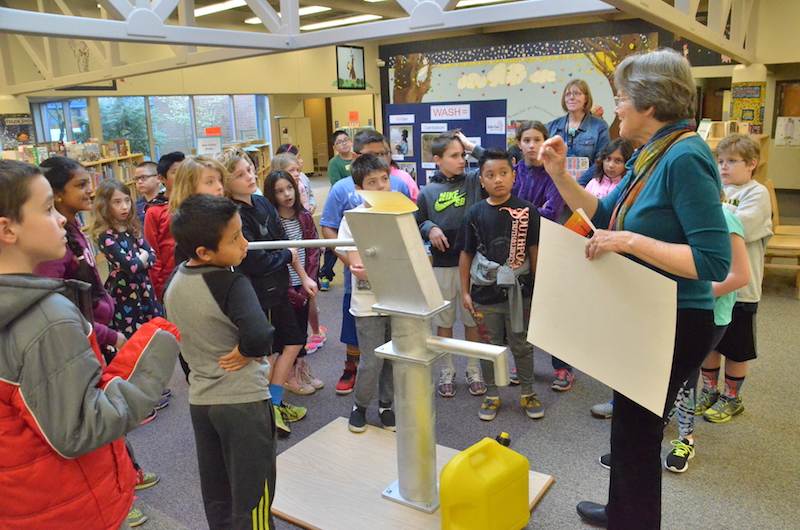 Students at Bridgeport Elementary at the final station of our WASH display: Clean Water!